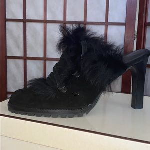 COACH Kristy Black Slideon Fur Lug Bottom Heels